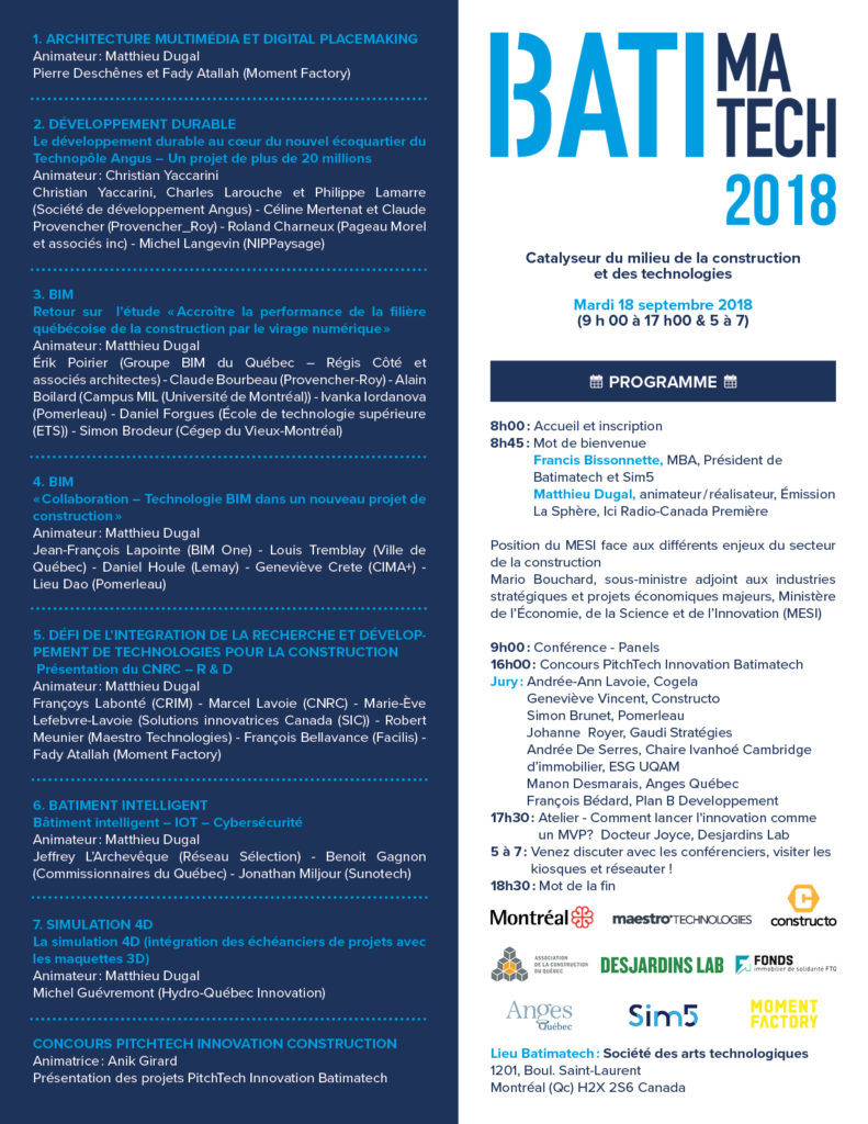Programme Batimatech 2018 - Sim5