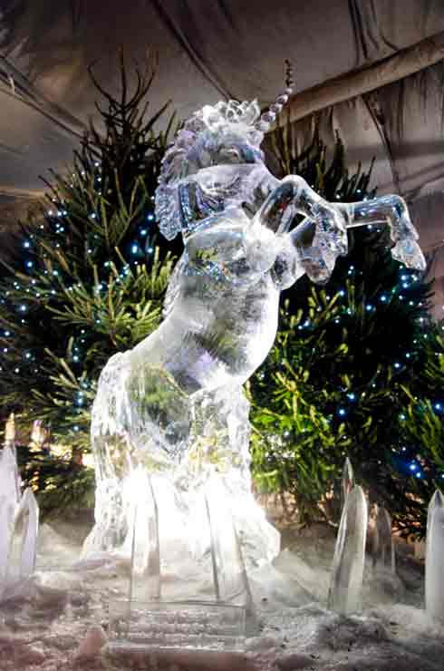 edinburgh ice sculptures unicorn