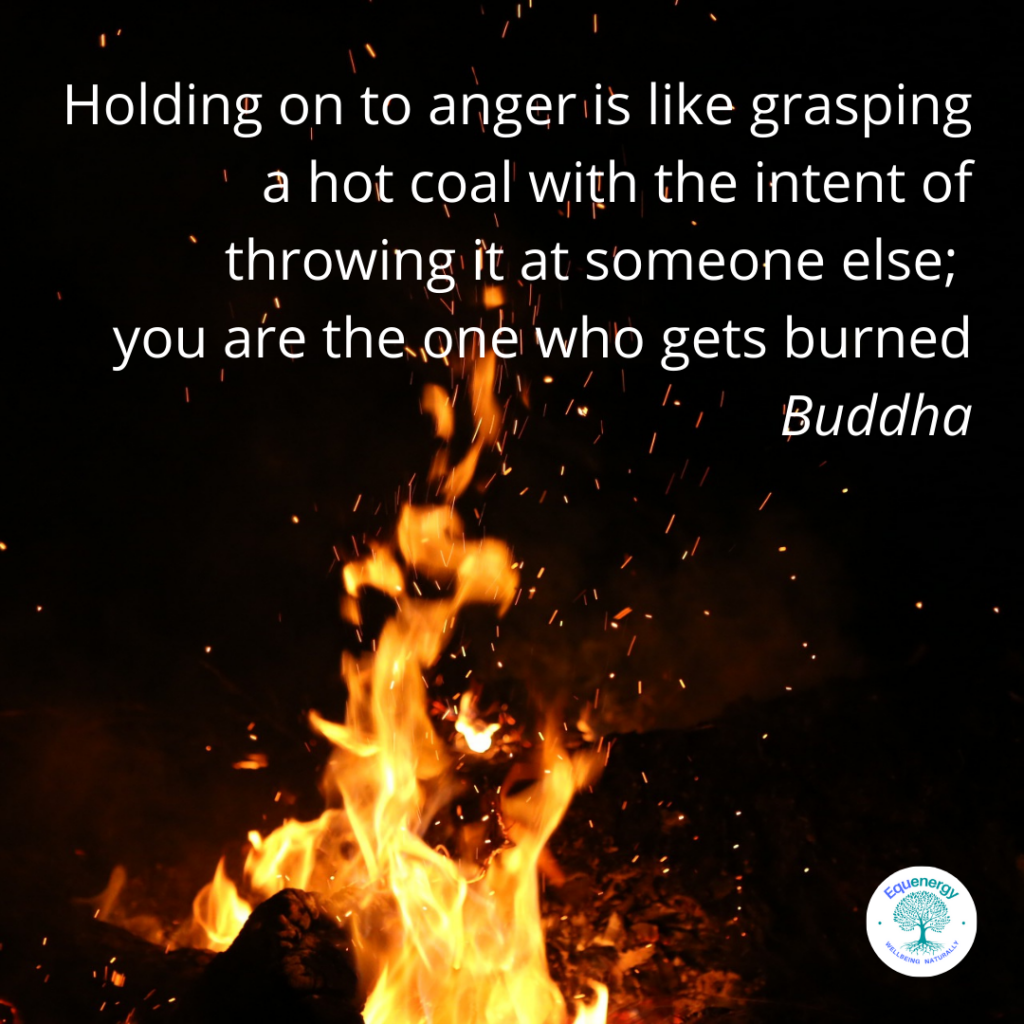 """image is of flames against a dark background with the words: """"Holding on to anger is like grasping a hot coal with the intent of throwing it at someone else; you are the one who gets burned"""".  Buddha"""