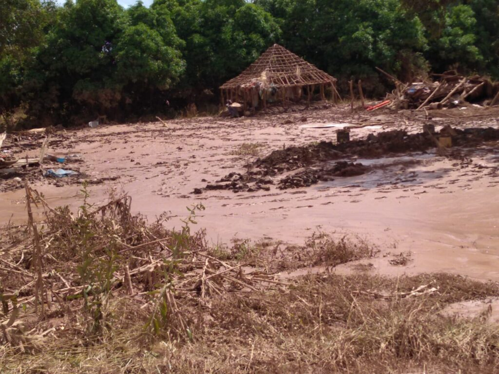 Severe flooding in Dombe washed away homes