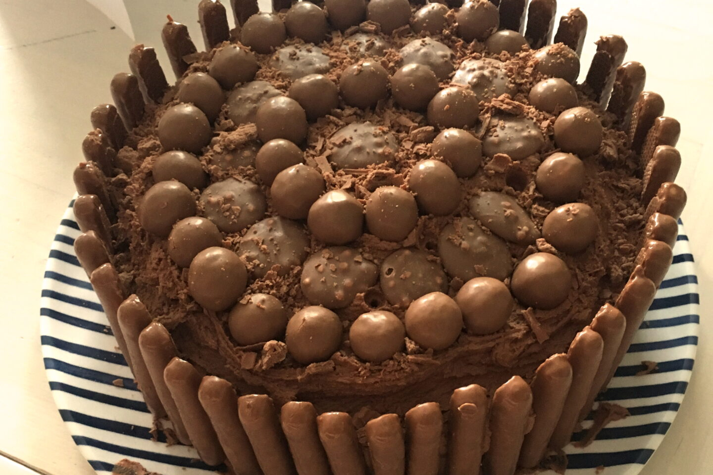 chocolate birthday cake decorated with chocolate buttons, maltesers and chocolate fingers for weekly gratitude