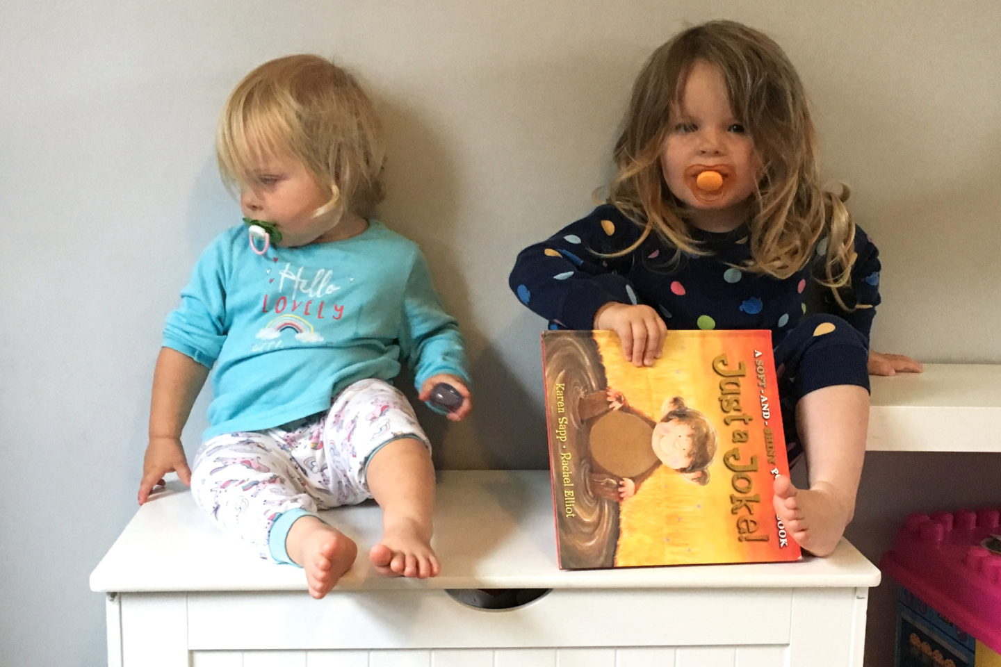 two sisters sitting on a toy box in their pyjamas