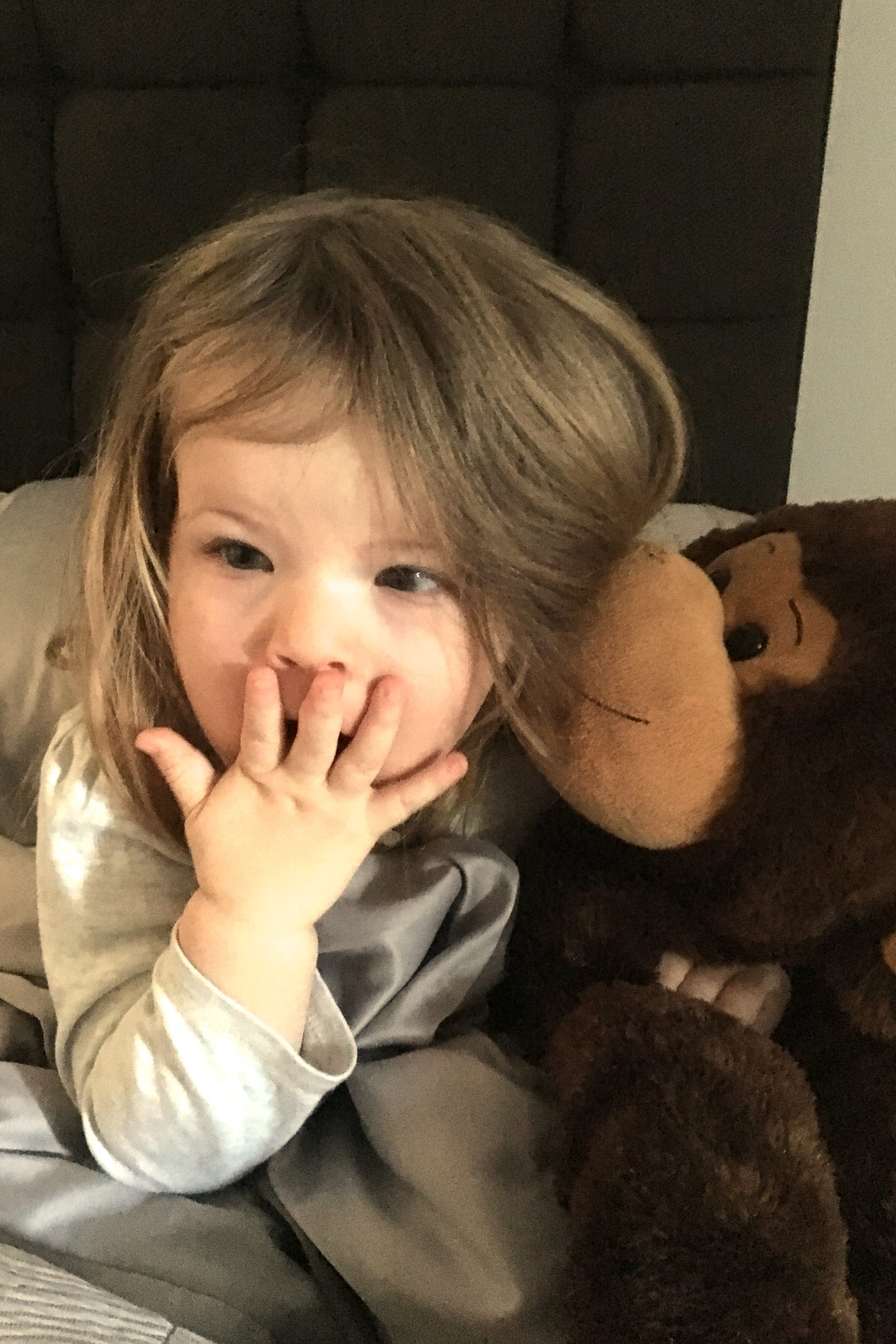 toddler in bed with cuddly monkey, looking surprised with hand over her mouth