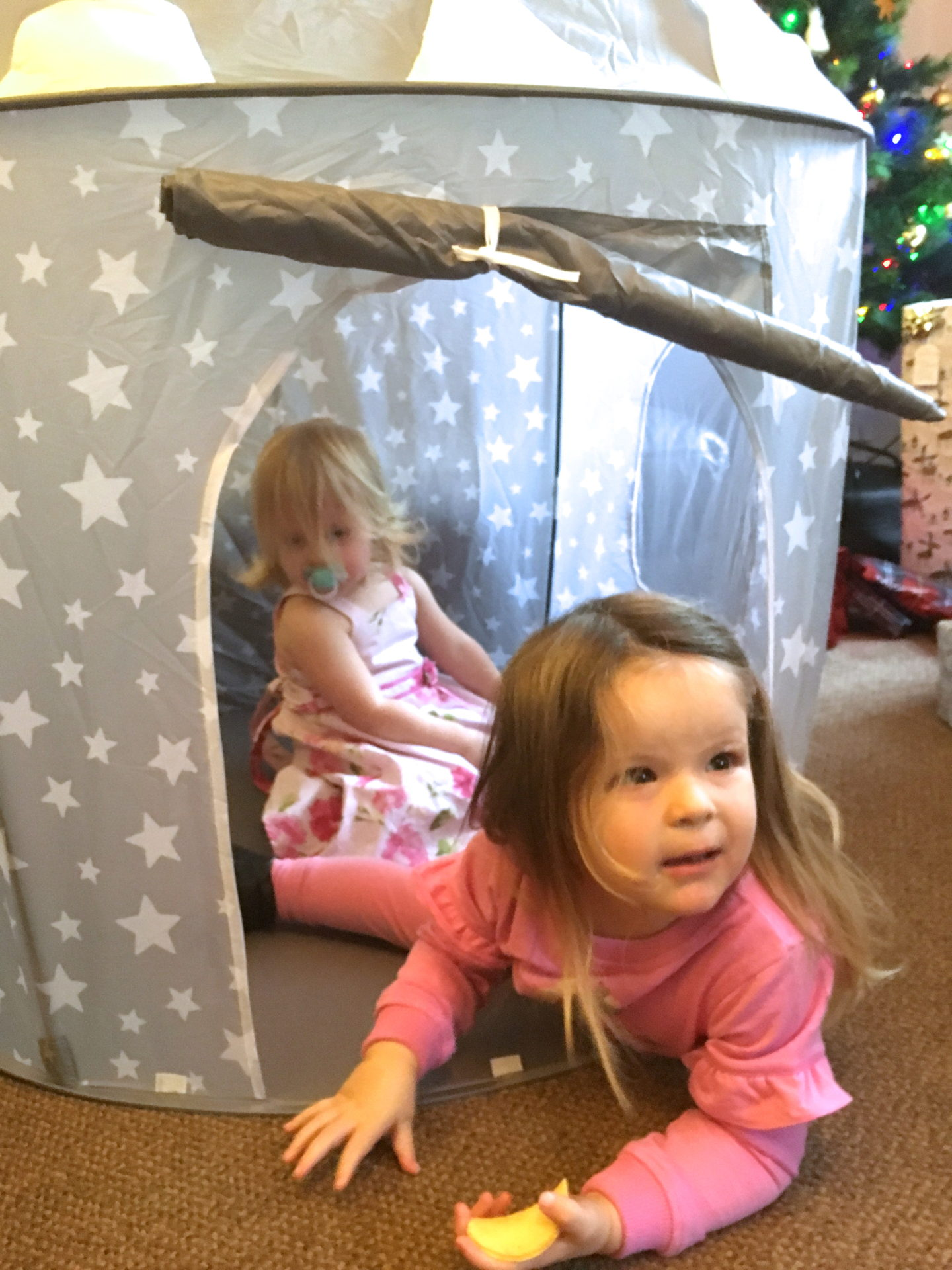 two toddler sisters sitting in a play tent