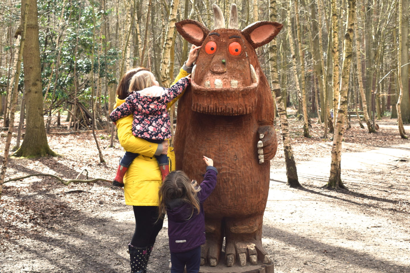 The Gruffalo Trail, Essex, The Gruffalo with mother and two children