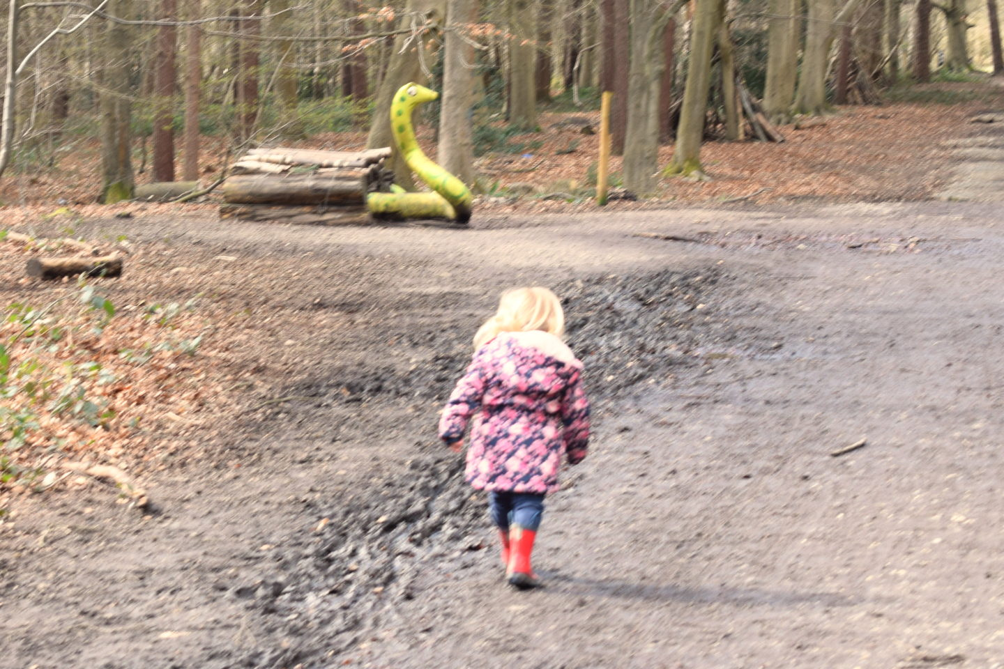 The Gruffalo Trail, Essex, toddler running to snake sculpture