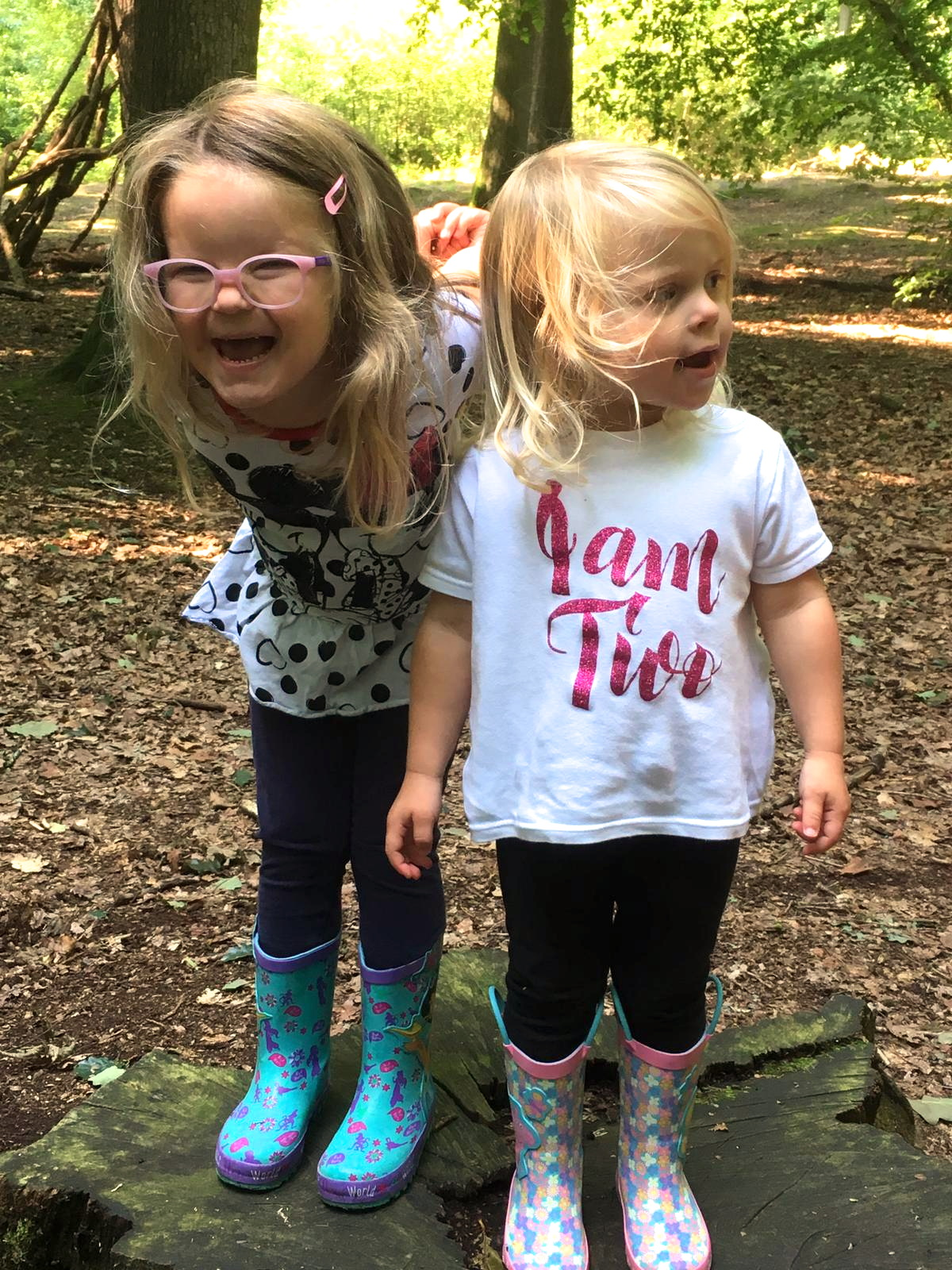 two sisters in wellies, standing on a tree stump in the woods