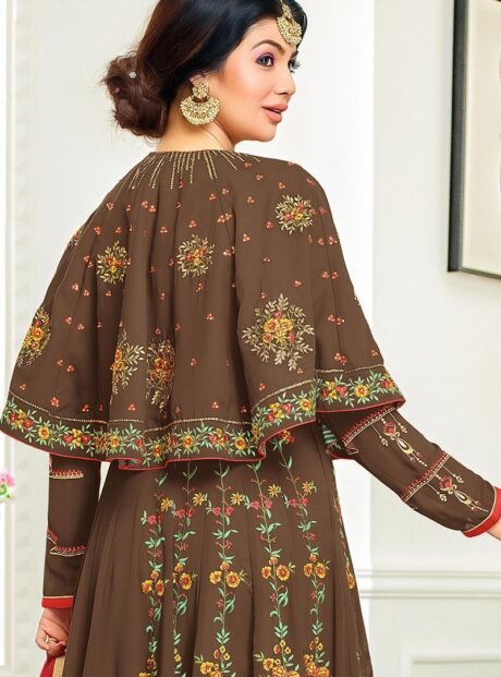 55008 B– Brown Georgette Embroidered Anarkali Suit In Brown Colour
