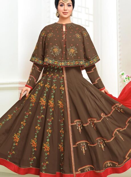 55008 – Brown Georgette Embroidered Anarkali Suit In Brown Colour