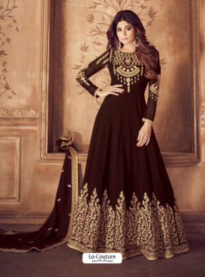 8201e Brown Fabulous Brown Embroidered Designer Anarkali Suit