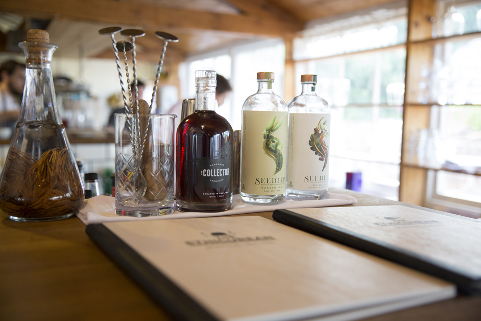 the famous spirit collection at The Ethicurean wedding reception in Bristol