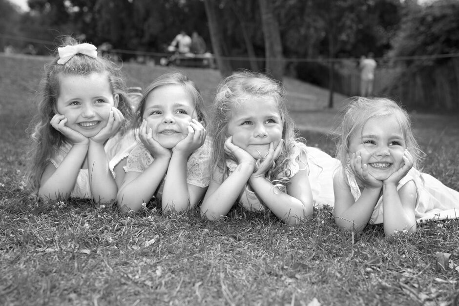 little girls sitting on their tummies in Tonbridge, Kent
