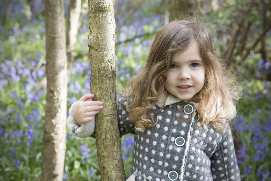 little girl in lavender forest in Ightham Mote, Kent