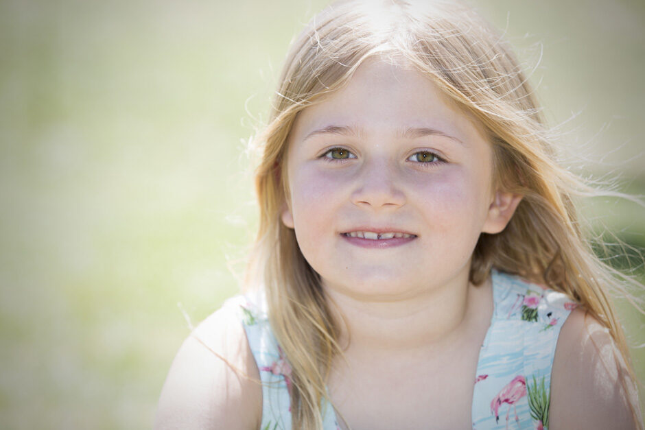 close-up of little girl with blonde hair in Tonbridge, Kent