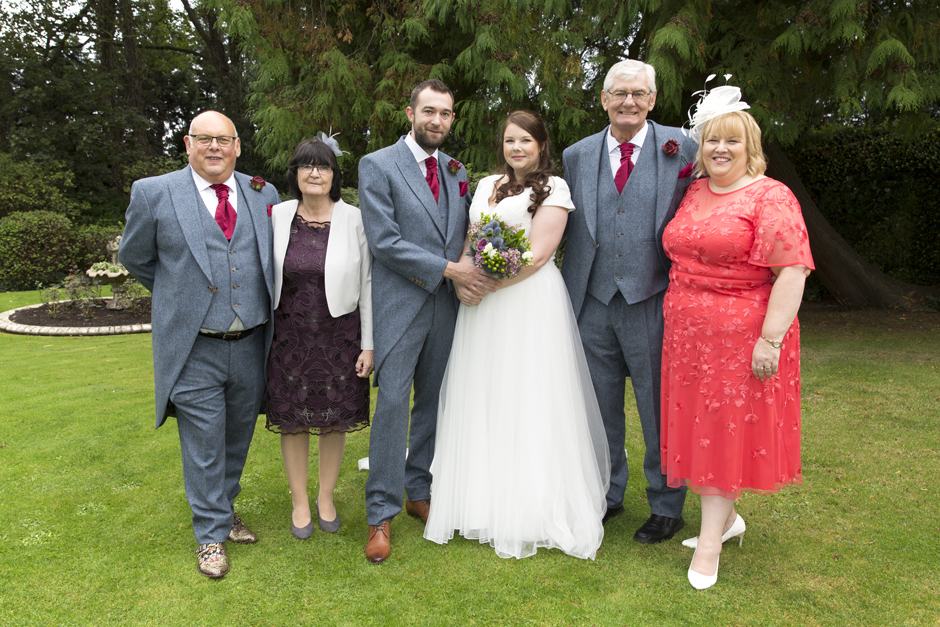 bride and groom with guests at The Little Hermitage in Rochester, Kent