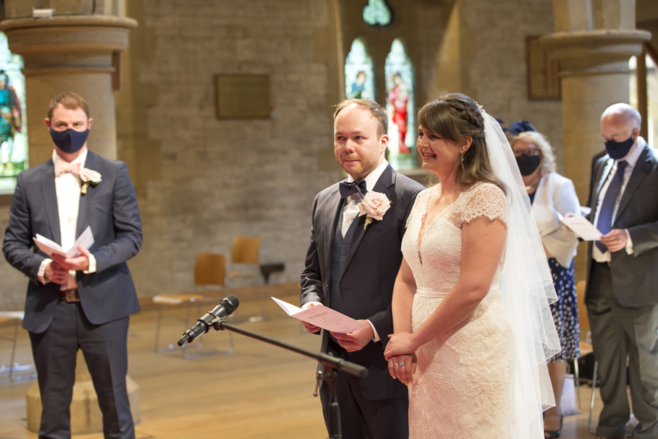Bride and Groom smiling at St Stephen's Church wedding in Tonbridge, Kent