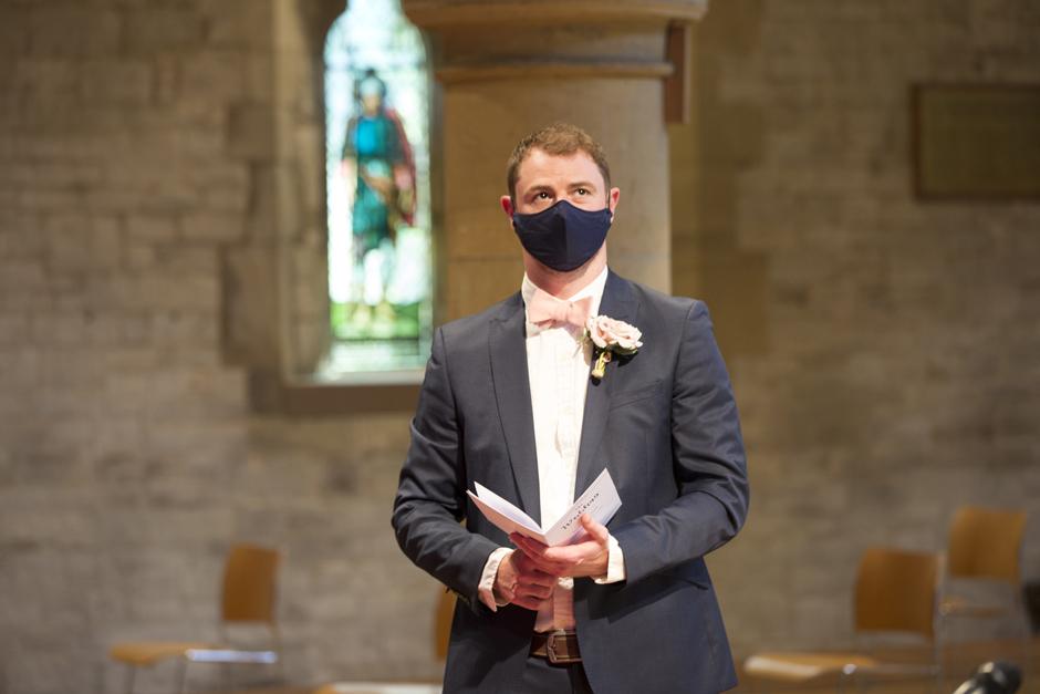 Best man in facemask at St Stephen's Church wedding in Tonbridge, Kent