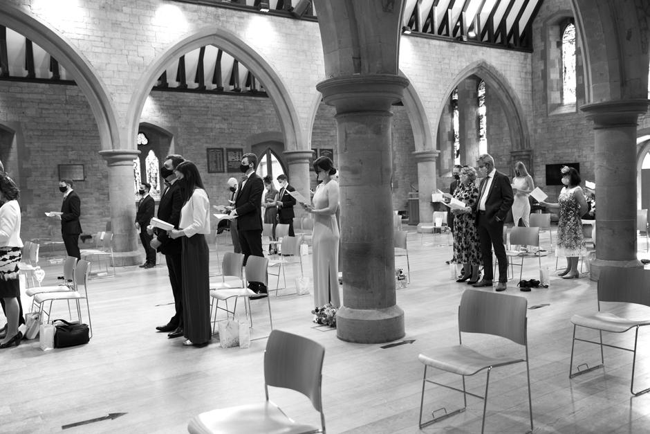 Socially distant wedding ceremony at St Stephen's Church in Tonbridge, Kent