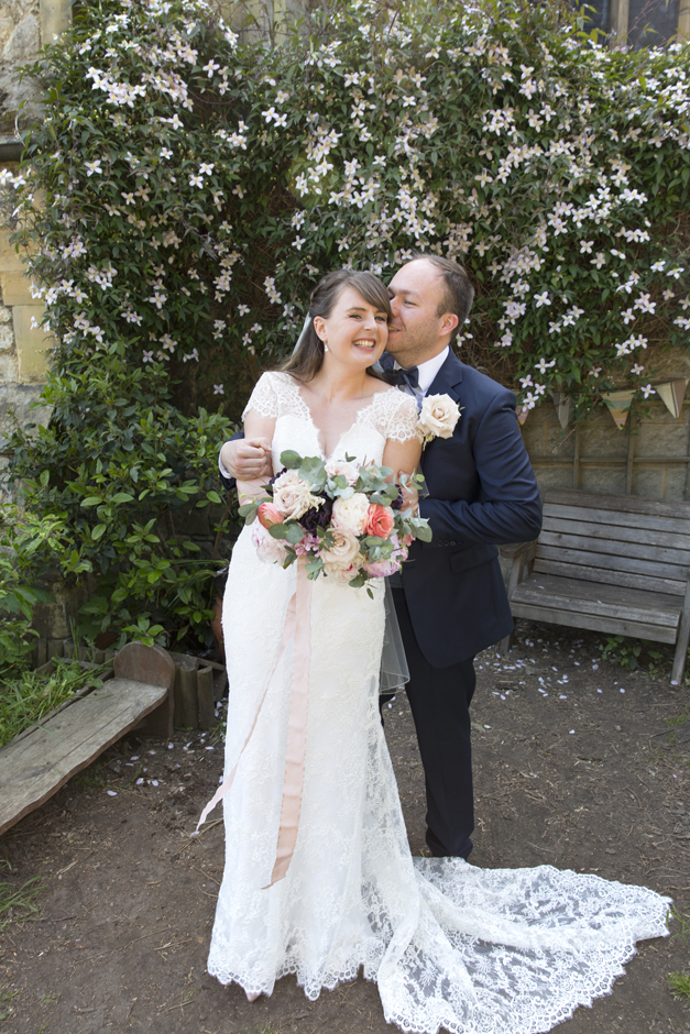 Bride and Groom laughing portrait at Tonbridge wedding in Kent