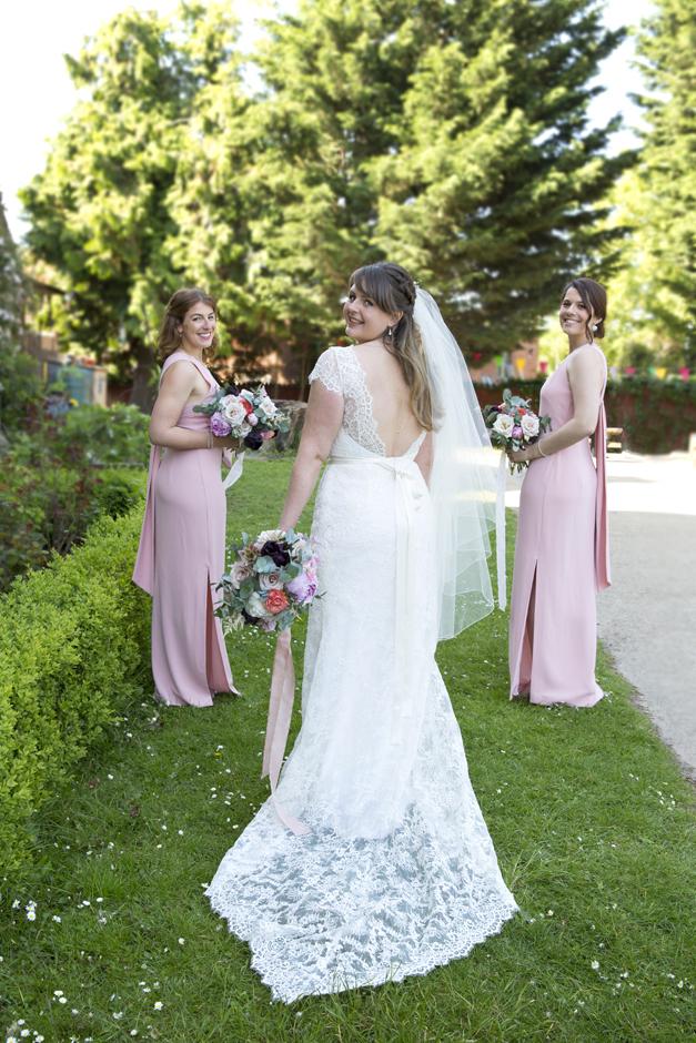 Bride with bridesmaids portrait at Tonbridge wedding in Kent