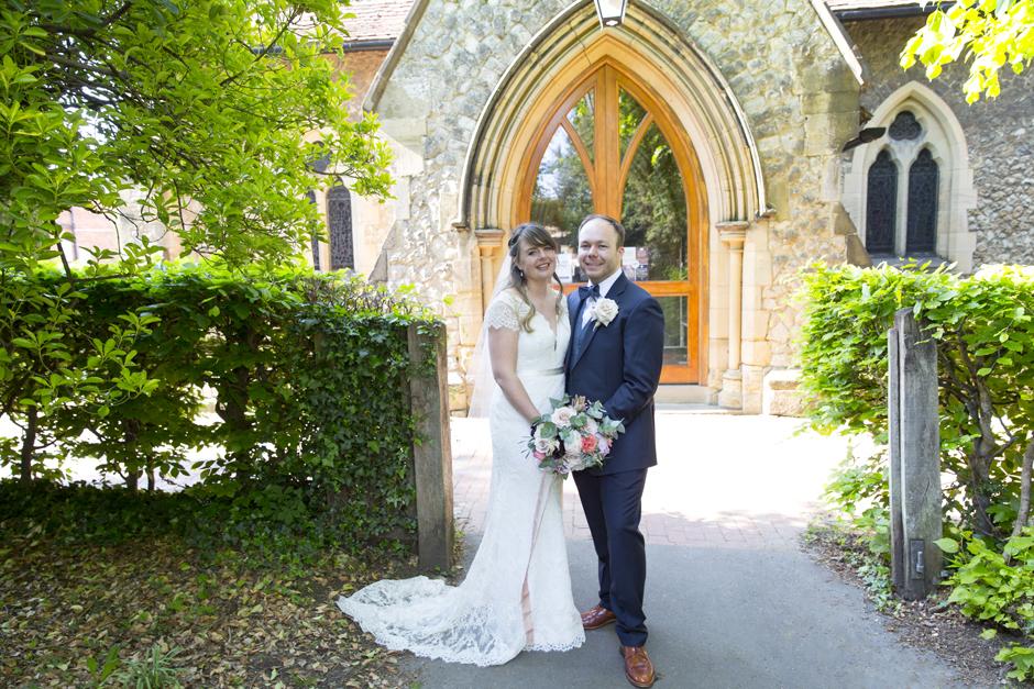 Bride and Groom wedding portrait outside of St Stephen's Church in Tonbridge, Kent