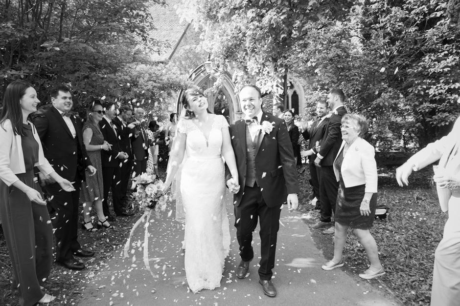 Bride and Groom confetti shot outside St Stephen's Church in Tonbridge, Kent