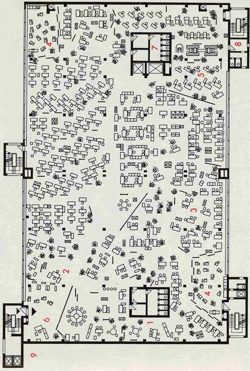 """Burolandschaft Scheme, 1961: ארגון משרדים על פי עקרונות ה""""נוף המשרדי"""" (Bürolandschaft)"""