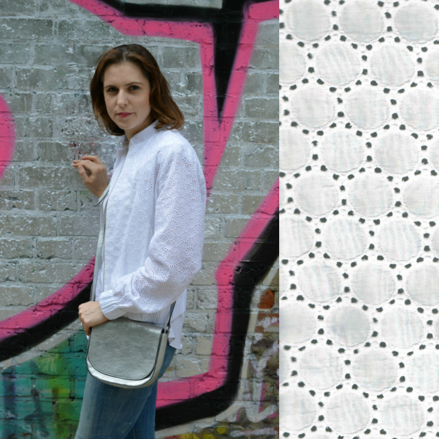 Outfit: me-made white eyelet bomber jacket Burdastyle June 2015 #101, white Moschino blouse, distressed Zara jeans, silver Arbro bag, silver ballet flats ... Sewionista.com ... Sewing ... Slow Fashion ... DIY ... Blog