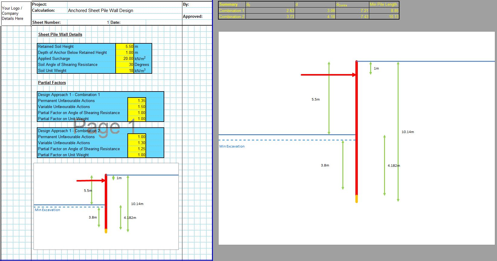 Anchored Sheet Pile Wall Design Spreadsheet 1