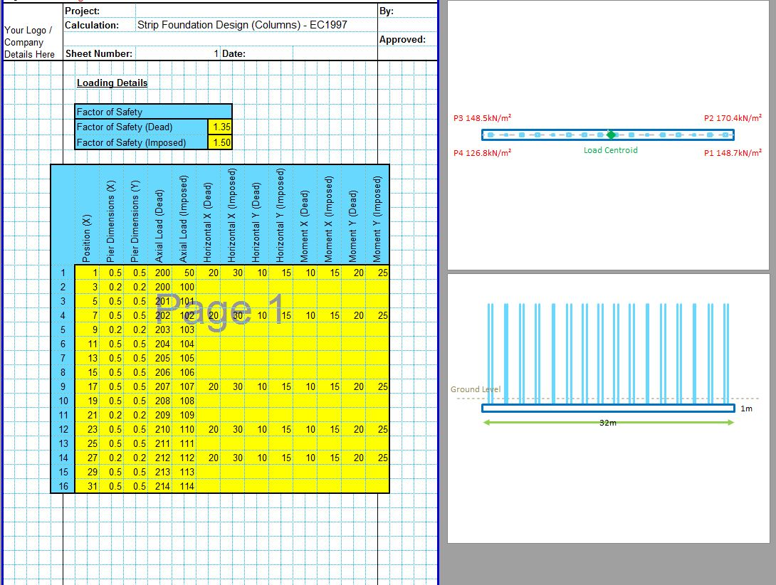Strip Footing Design Excel Spreadsheet