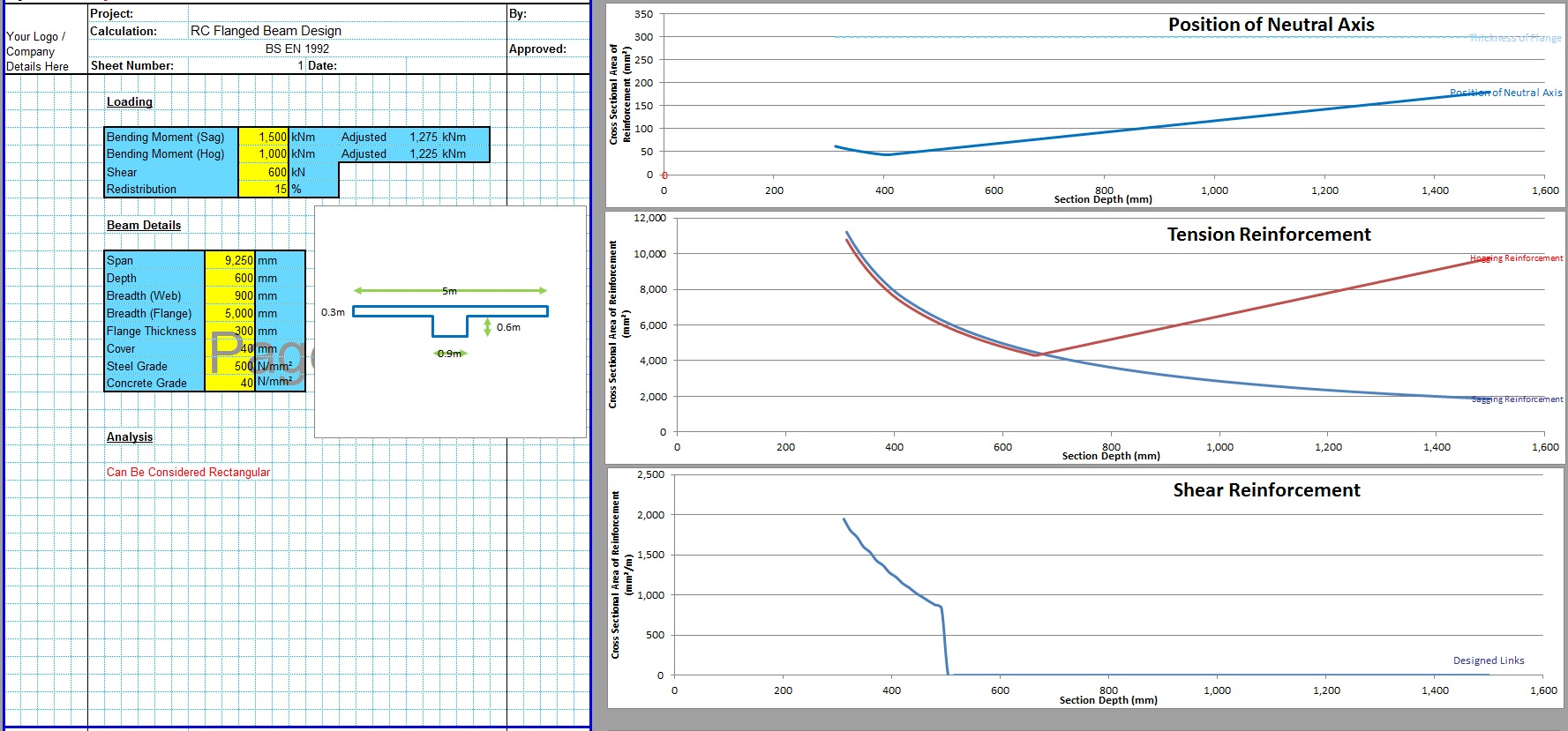 T Shaped RCC Beam Design Excel Sheet1