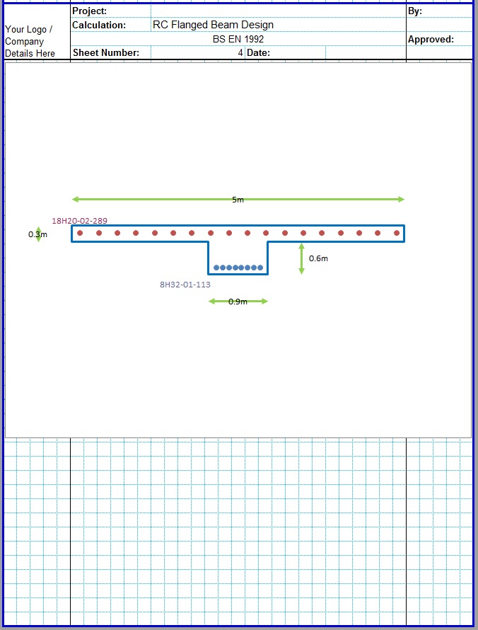 T Shaped RCC Beam Design Excel Sheet5