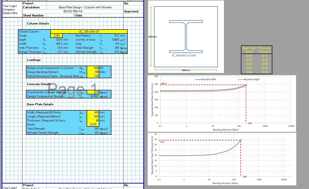 Base Plate Design Spreadsheet - Moment 1