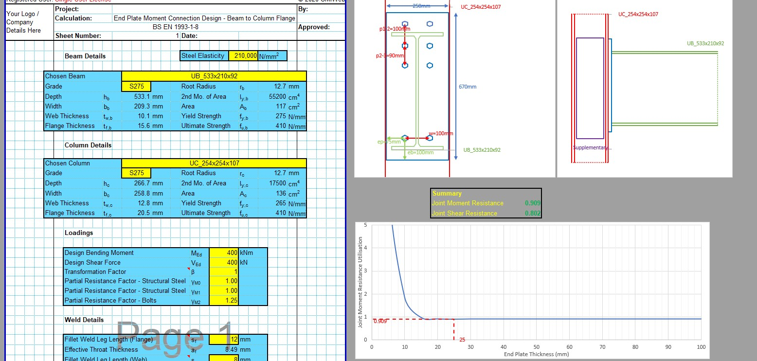 End Plate Connection Design Excel - Supp Web Plates 1