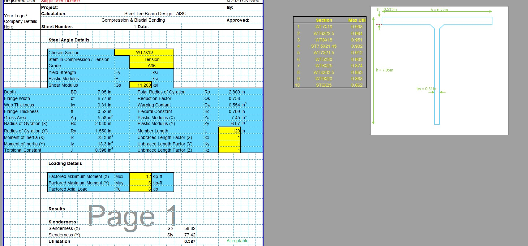 Steel Column Design Spreadsheet - AISC WT Section1