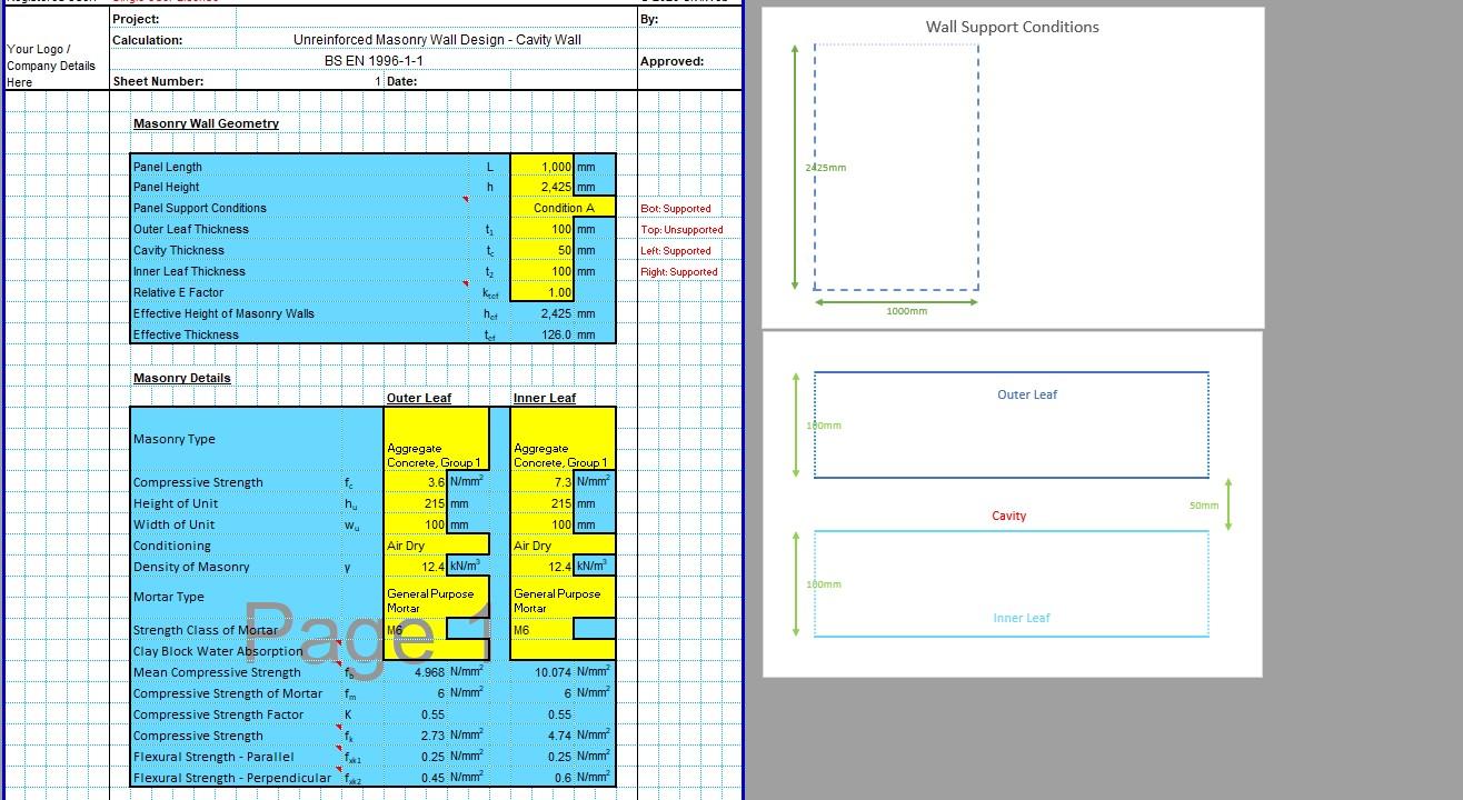 Masonry Wall Design Spreadsheet 01