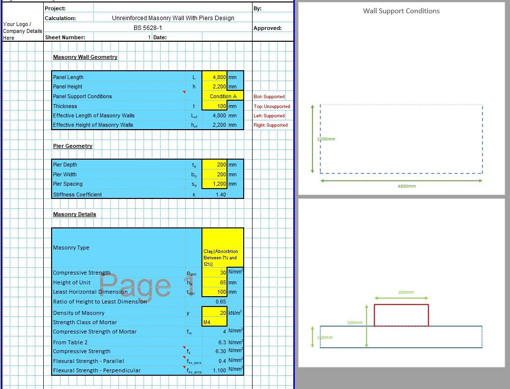 Brick Pier Design Spreadsheet 03