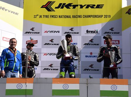 The podium ceremony JK Tyre Suzuki Gixxer Cup