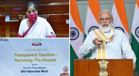 """Prime Minister, Shri Narendra Modi launches the platform for """"Transparent Taxation -Honoring the Honest"""", through video conferencing,"""