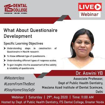 आईटीएस डेंटल कॉलेज में प्रश्नावली विकास विषय पर लाइव वेबिनार का आयोजन