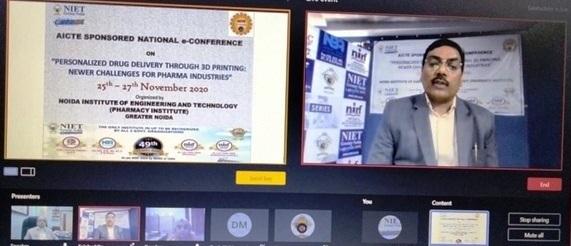 एनआईई टी,फार्मेसी संस्थान में अखिल भारतीय तकनीकी शिक्षा परिषद ने ई-कांफ्रेंस का किया आयोजन