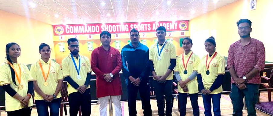 कमांडो शूटिंग एकेडमी के खिलाड़ियों ने छह पदक किया अपने नाम