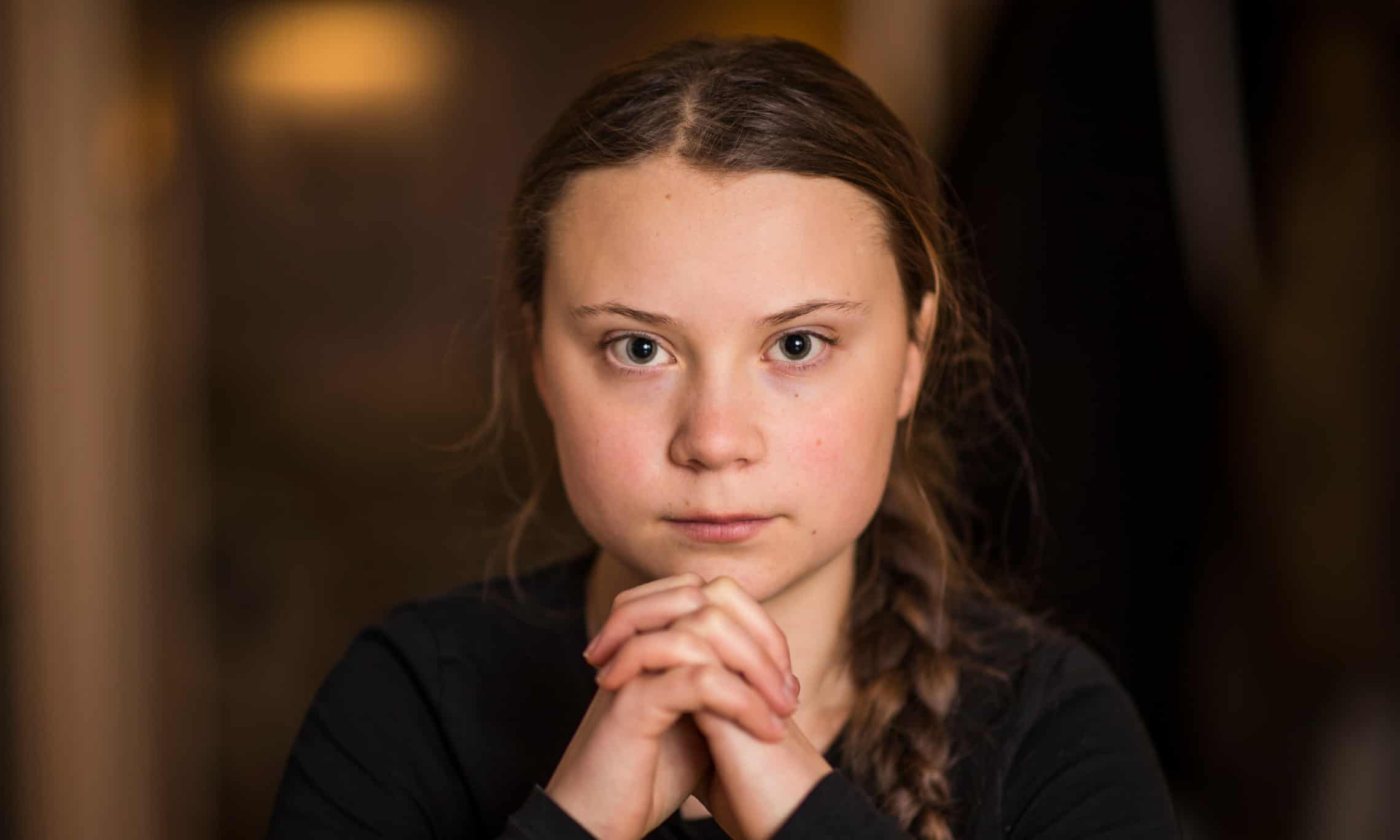 Greta Thunberg activist for climate change. a young voice for safeguarding nature in a world that is failing us