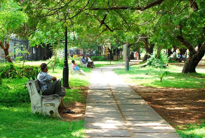 Bharati Government Park: The park benches are where people take a siesta