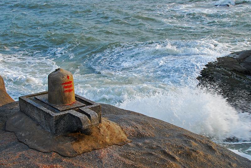 Shiva linga on top of the rock