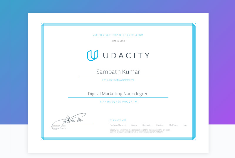 Notes on Certifications: Udacity DMND, Symbiosis