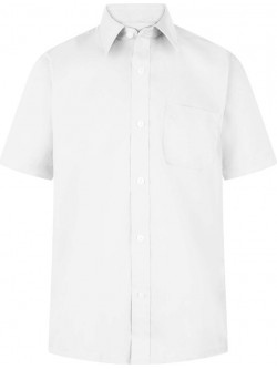 Boys White Short Sleeve Non-Iron Shirts (Twin Pack)