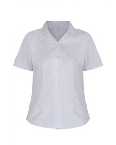 Girls Short Sleeve Rever Collar Non-Iron Blouse (Twin Pack)