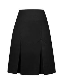 Black Invert Two Pleat Skirt (Adjustable waist)