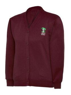 Burgundy Sweatshirt Cardigan (with logo)